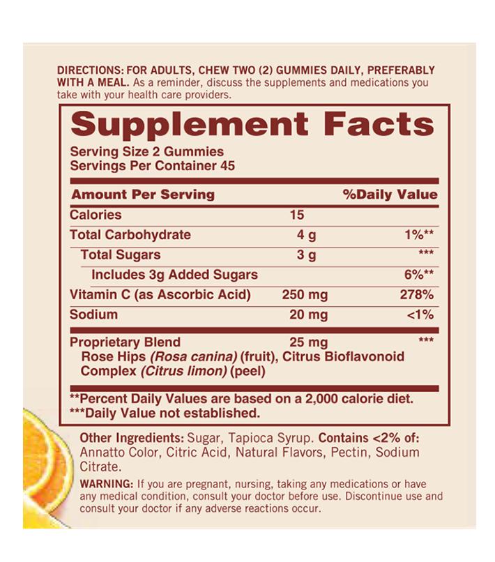 gomitas con vitamina c composicion