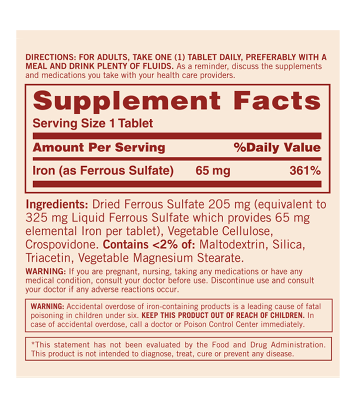 iron 65 mg composicion