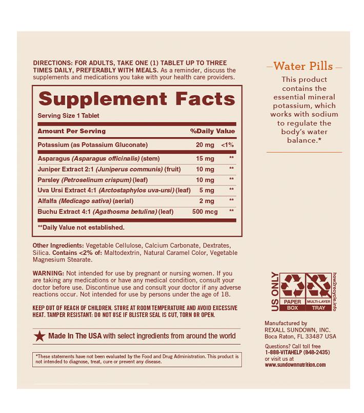 water pills composicion